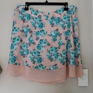 Blue and Pink Floral Skater Skirt (XXL)